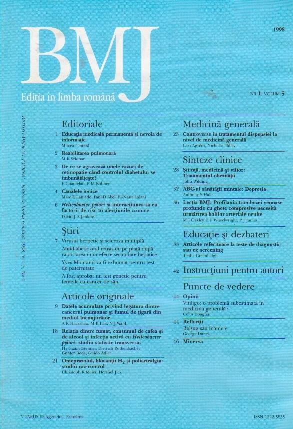 British Medical Journal - Editia in limba romana, 1998, Vol 5, Nr 1